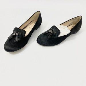Anne Klein Black Calf Hair Leather Flats Size 10